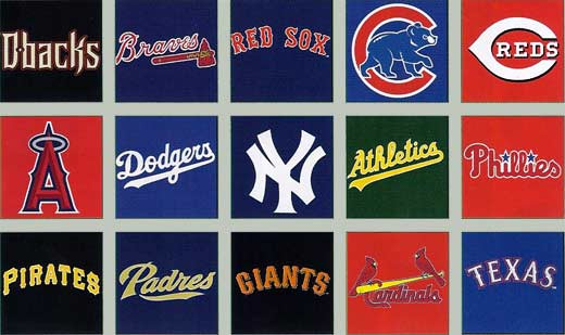 Diamondbacks, Braves, Redsocks, Reds, Cubs, Angels, Dodgers, Yankees, Athletics, Phillies, Pirates, Padres, Giants, Cardinals, Texas